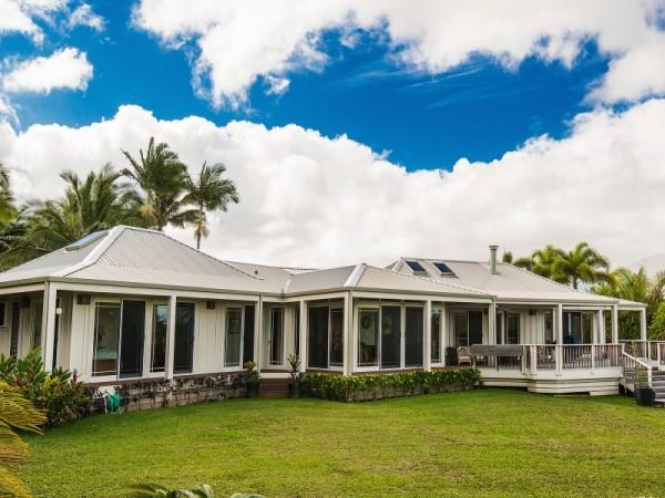 hawaiian style plantation home with guest house on kalihiwai ridge
