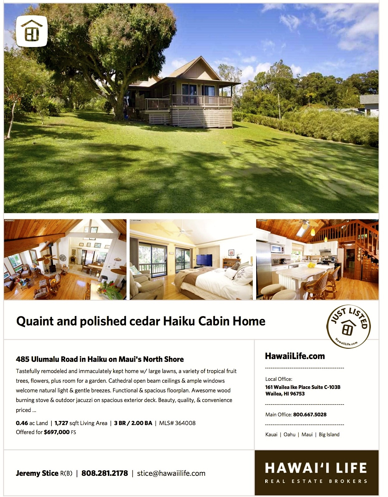 quaint haiku cabin home just listed on maui s north shore hawaii 485 ulumalu listing flyer