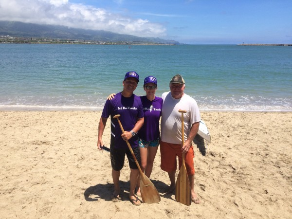 Kahului Harbor, home to several outrigger canoe clubs. pictured above are Tracy Stice along with Dirk and Sonja visiting from Germany.